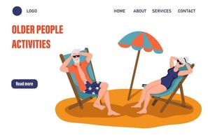 Older people activities page template. Elderly couple sunbathing on the beach. The concept of active old age. Day of the elderly. Flat vector illustration