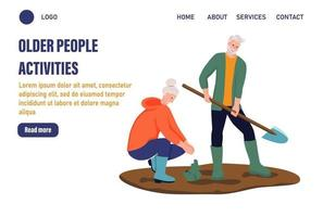 Older people activities page template. An elderly couple working in the garden. The concept of active old age. Day of the elderly. Flat vector illustration