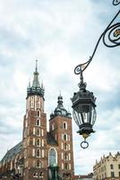 Krakow, Poland 2017- Tourist architectural attractions in the historical square of Krakow photo
