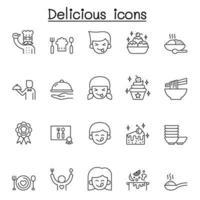 deliciosos iconos en estilo de línea fina vector