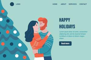 Happy xmas holidays landing page vector template. Loving couple hugs near the Christmas tree and celebrates Christmas. Celebrate traditional winter event web banner. Flat vector illustration