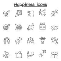 Set of Happy Related Vector Line Icons. Contains such Icons as smile, celebration, cheer, party, fun, enjoy, jump, firework, flower, satisfaction, heart, star and more