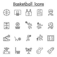 Set of basketball Related Vector Line Icons. Contains such Icons as ball, hoop, player, scoreboard, ball, trophy, basketball court and more.