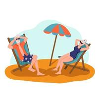 Elderly couple sunbathing on the beach. The concept of active old age. Day of the elderly. Flat cartoon vector illustration.