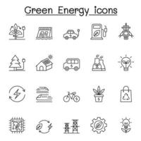 Green energy icons set in thin line style vector