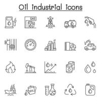Oil industrial icons set in thin line style vector