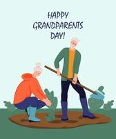Happy Grandparents day greeting card. An elderly couple working in the garden. Cheerful grandmother and grandfather cartoon characters. Day of the elderly. Flat vector illustration.