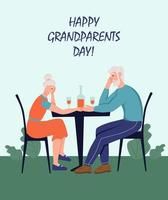 Happy Grandparents day greeting card. An elderly couple sitting in a cafe. Cheerful grandmother and grandfather cartoon characters. Day of the elderly. Flat vector illustration.