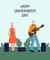 tarjeta de felicitación del día de los abuelos felices. una pareja de ancianos toca la guitarra y canta. alegres personajes de dibujos animados de abuela y abuelo. día de la tercera edad. ilustración vectorial plana. vector