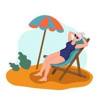 anciana tomando el sol en la playa. el concepto de vejez activa. día de la tercera edad. ilustración vectorial de dibujos animados plana. vector