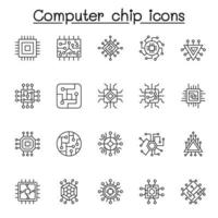 Set of Computer chip Related Vector Line Icons. Contains such Icons as circuit, mother board, electronic panel, cpu, processor and more