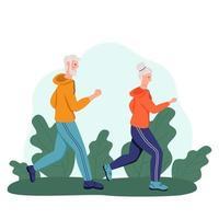 una pareja de ancianos corre en el parque. el concepto de vejez activa, deportes y carrera. día de la tercera edad. ilustración vectorial de dibujos animados plana. vector