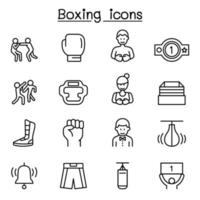 Boxing sport icon set in thin line style vector