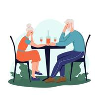 An elderly couple is sitting in a cafe on the street and drinking wine. The concept of active old age. Day of the elderly. Flat cartoon vector illustration.
