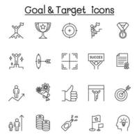 Goal and target icon set in thin line style vector