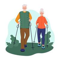 An elderly couple walking with sticks in the Park. The concept of Nordic walking, active aging, sports. Flat cartoon vector illustration.