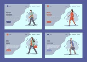 People wearing face masks landing page template set vector