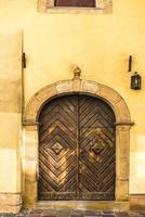Old vintage wooden with metal door photo