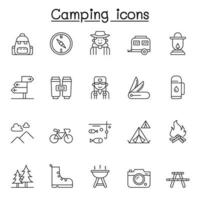 conjunto de iconos de línea vectorial relacionados con el camping. contiene íconos como carpa, senderismo, bosque, automóvil, fogata, montaña, viajero, brújula, pesca, bosque, cámara, señal de dirección, banco, mochila y más.