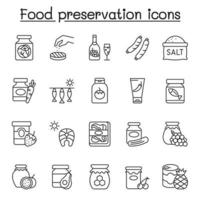 Preserved food icons set in thin line style vector