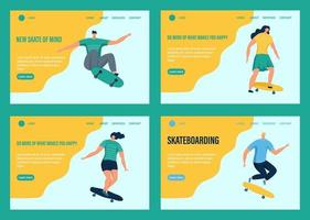 A young men and women or teenagers rides a skateboard. Website homepage landing web page template. Flat vector illustration.