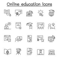Online education icon set in thin line style vector