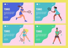 A young women playing tennis. Set of website homepage landing web page template. A flat character. Vector illustration.