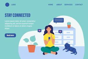 Stay connected. Website homepage landing web page template. Young woman is sitting with a phone on the floor. The concept of daily life, everyday leisure and work activities. Flat cartoon vector illustration.