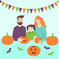 Family doing Halloween activities vector