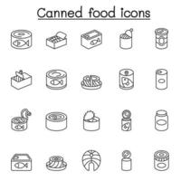 Canned food and Preserved food icons set in thin line style vector