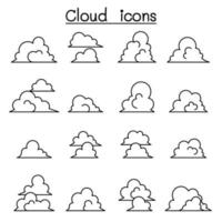 Cloud icons set in thin line style vector