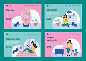 Daily life landing page template set vector