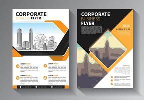 yellow flyer business template set vector