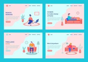 Young people working from home template set vector