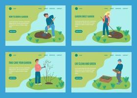 People gardening landing page set vector