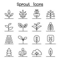 Sprout icon set in thin line style vector