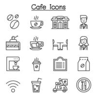 Cafe, Coffee icon set in thin line style vector