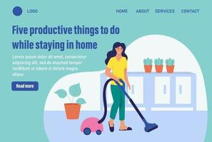 Five productive things to do while staying in home. Website homepage landing web page template. A young woman vacuums. The concept of daily life. Flat cartoon vector illustration.