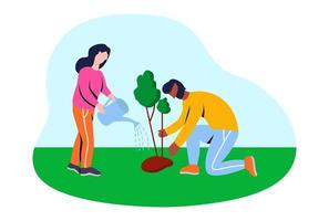 Volunteers planting trees. Flat vector illustration.