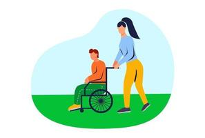 Volunteer helping a disabled person with limited mobility vector