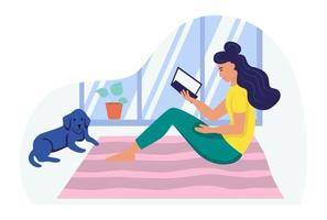 A young woman is sitting on the floor reading a book. The concept of daily life, everyday leisure and work activities. Flat cartoon vector illustration.