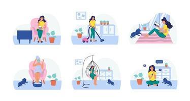 una mujer lee, mira televisión, aspira, hace una mascarilla cosmética, toma café, se sienta con un teléfono móvil. colocar. el concepto de vida diaria, ocio diario y actividades laborales. ilustración vectorial plana. vector