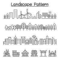 paisaje urbano, bosque, ciudad inteligente, diseño gráfico vectorial emblemático