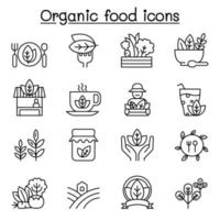 Organic food icon set in thin line style vector