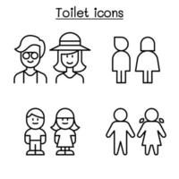 Toilet icon set in thin line style vector