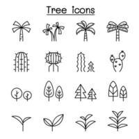 Tree thin line icon set vector