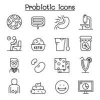 icono de bacterias probióticos en estilo de línea fina vector