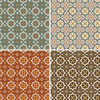 seamless ornate geometric vector tile patterns