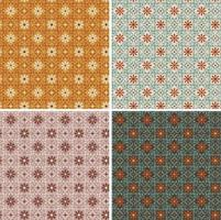 seamless ornate decorative geometric floral vector tile patterns