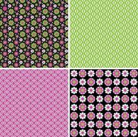 mod pink green black seamless floral and geometric vector patterns